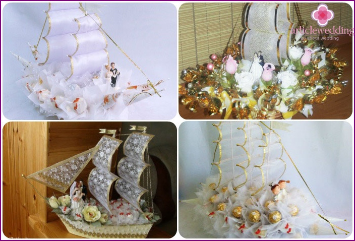 A ship made of sweets with honeymoon figures