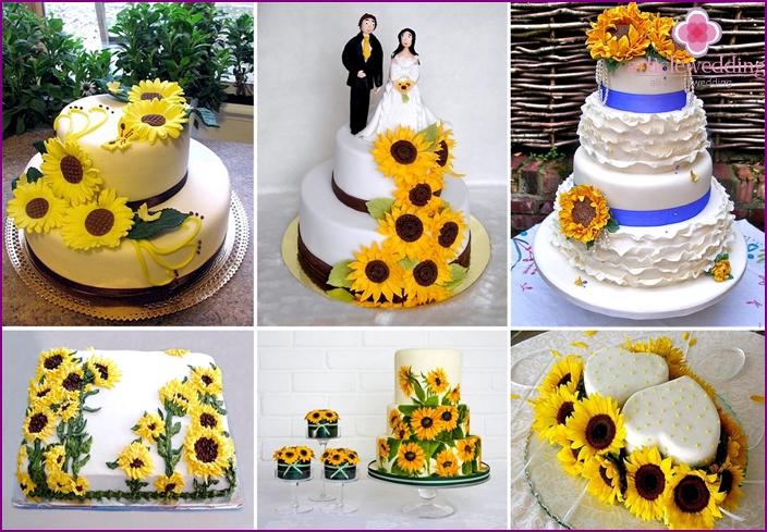 Ukrainan tyylin kakku auringonkukkia