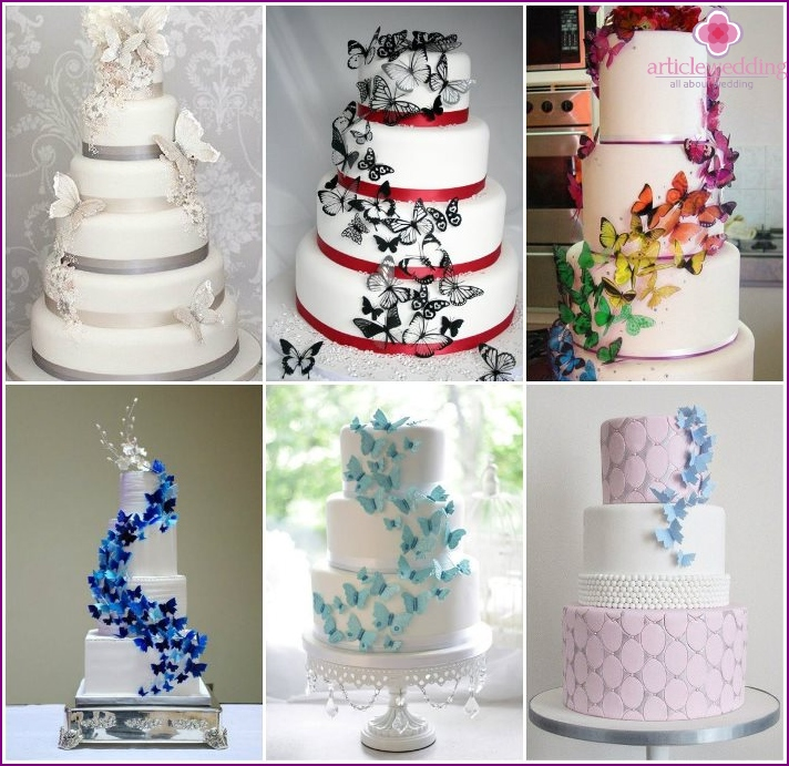 Wedding cake decorated with a cascade of butterflies