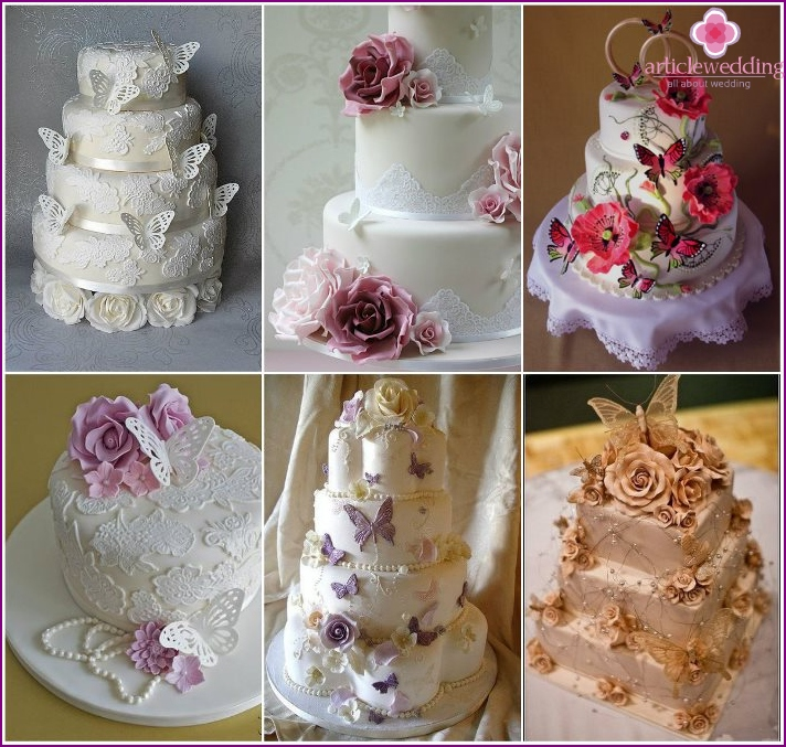 Cake newlyweds with butterflies and lace