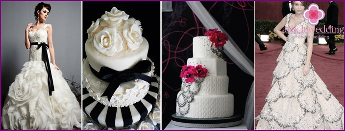 Wedding cake in the color of the dress of the bride