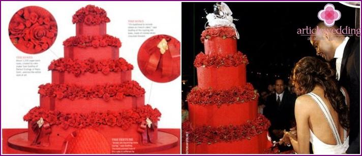 Eva Longoria's famous red wedding cake