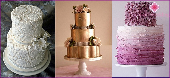 Fashionable wedding cakes with mastic