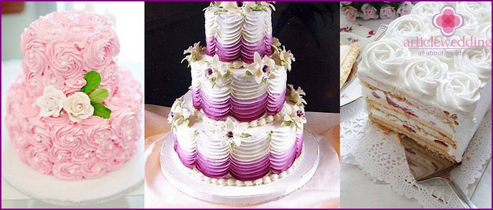 Cake for newlyweds without mastic
