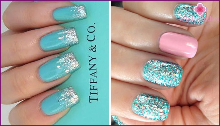 Manicure for the holiday in turquoise colors