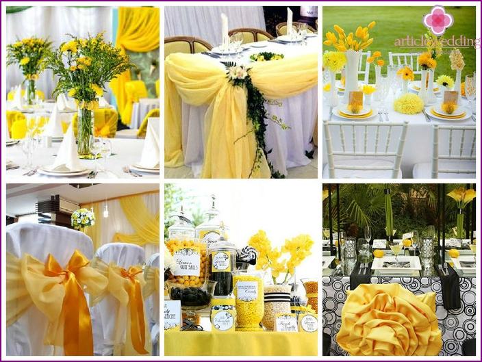 Bankettsaaldekoration für eine gelbe Hochzeit