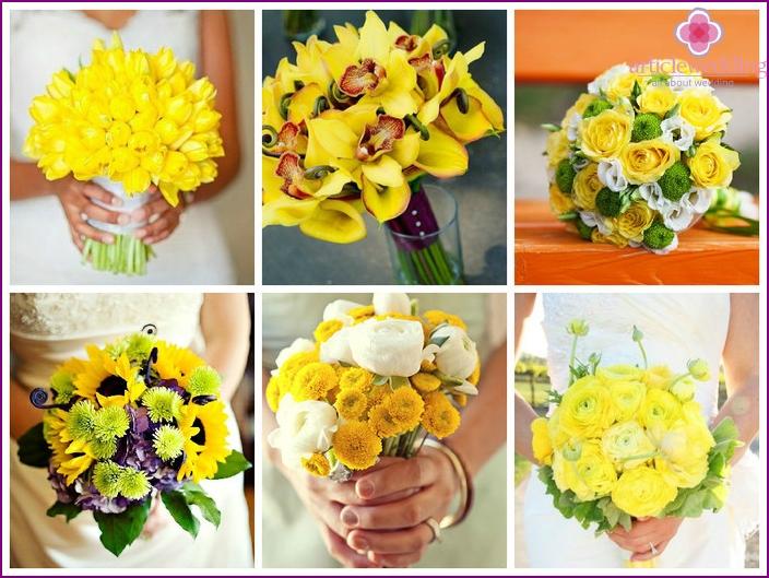 Gelbe Farben im Dekor des Hochzeitstisches