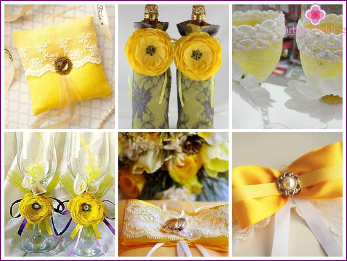 Heller Brautstrauß mit gelben Blüten