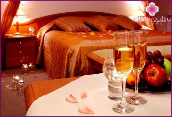Hotel room for wedding night