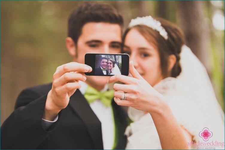 Newlyweds at the wedding