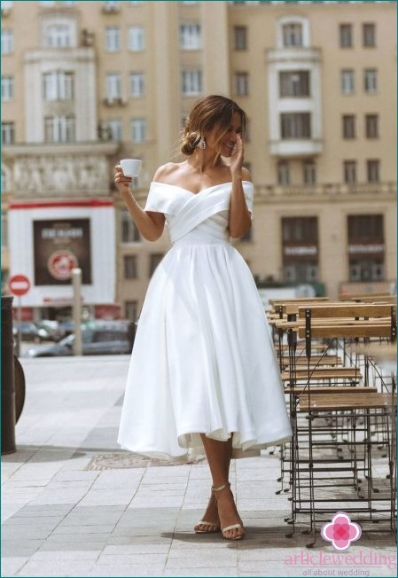 Interesting Midi Length Wedding Dress