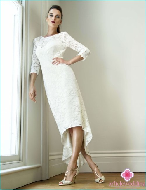 Asymmetric Midi Wedding Dress