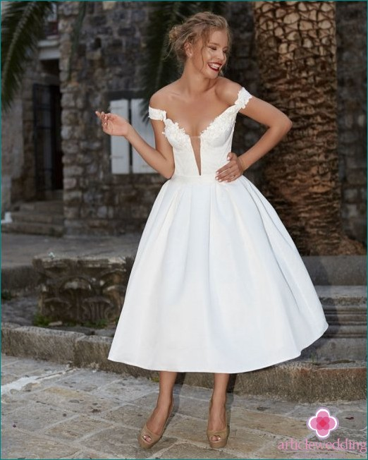 New Bow Style Midi Wedding Dress