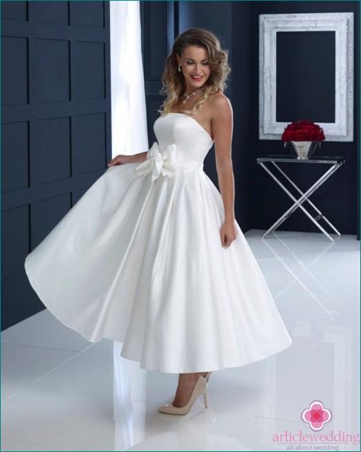 Satin Midi Wedding Dress
