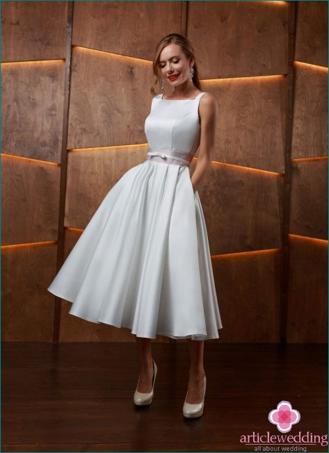 Satin Midi Wedding Dress