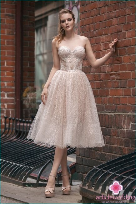 Powdery Midi Wedding Dress