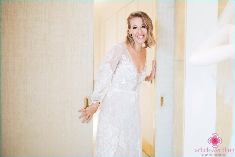 Ksenia Sobchak in a wedding dress