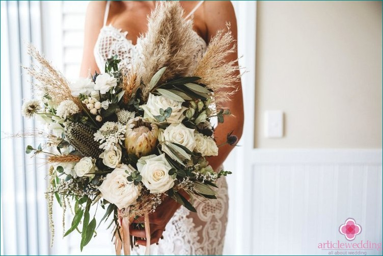 Wedding bouquet with dry herbs