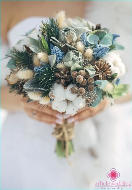 Wedding bouquet with fir and cones